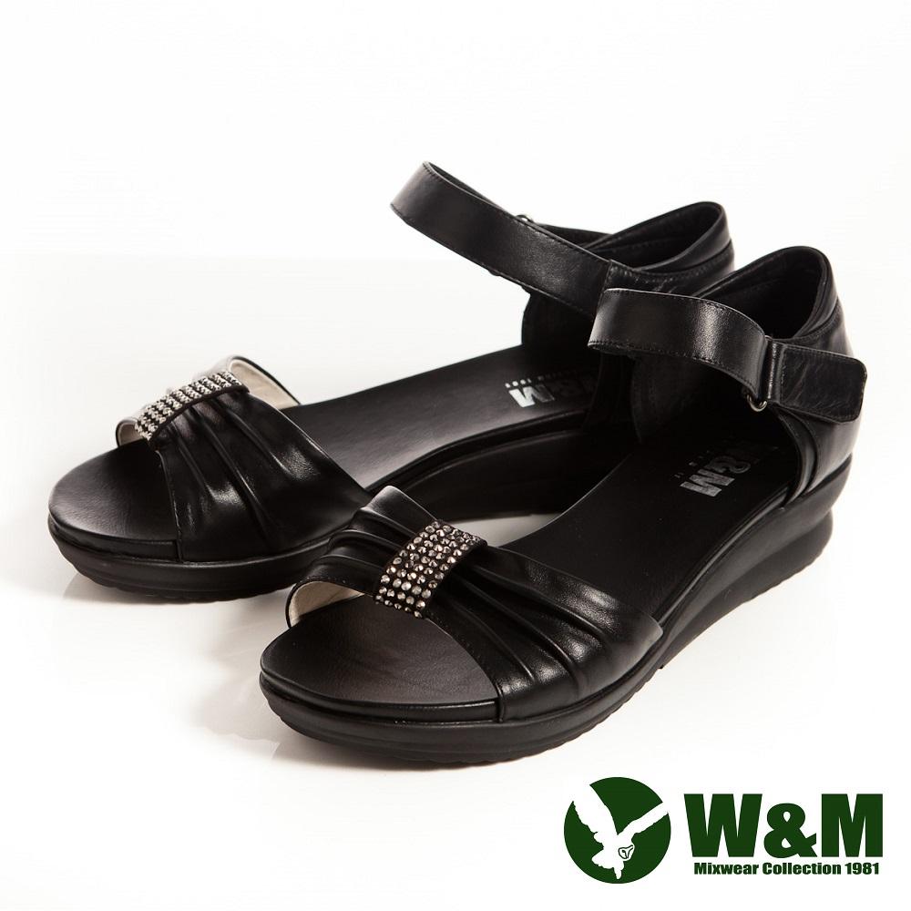 W&M 耀眼亮鑽 魔鬼氈淑女中低跟平底涼鞋-黑