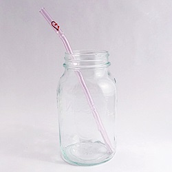 美國strawesome手工玻璃吸管/愛心細口彎角
