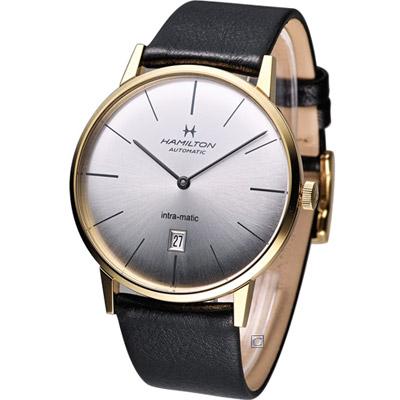 Hamilton-Intra-Matic-優雅復刻機械腕錶-銀x金框-42mm