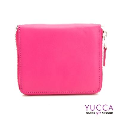 YUCCA-繽紛撞色系牛皮卡片短夾肩背小包-桃紅色 D0093012C68