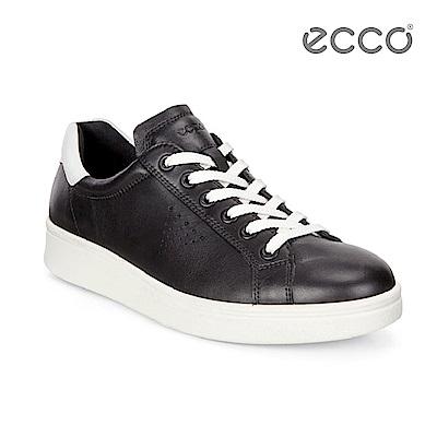 ECCO SOFT 4 活力厚底設計休閒鞋-黑