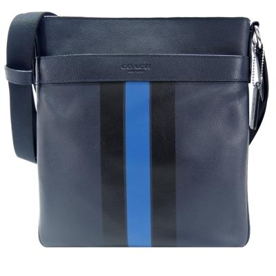 COACH-雙色直紋皮革方形斜背包-深藍