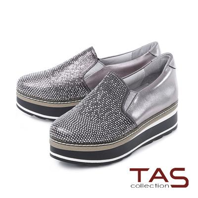 TAS 滿版漸層雙色水鑽厚底內增高懶人鞋-銀河灰