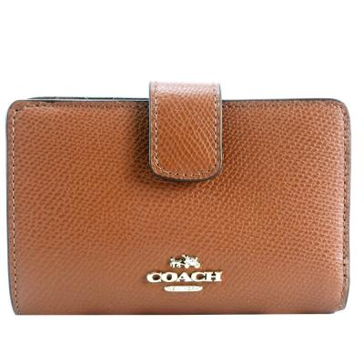 COACH-馬車logo防刮皮革拉鍊袋中夾-咖