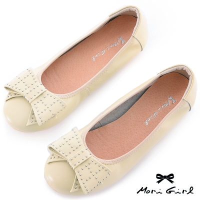 Mori girl輕甜搖滾-鉚釘裝飾牛皮娃娃鞋 杏