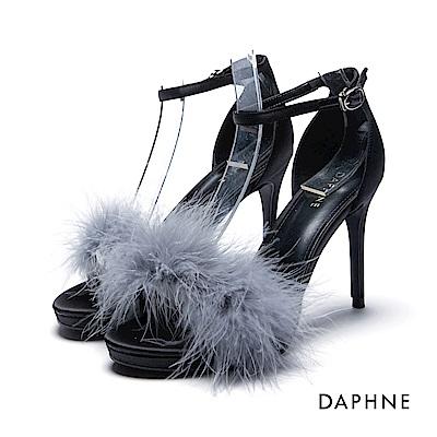 達芙妮DAPHNE 涼鞋-蓬鬆毛海緞面一字高跟涼鞋-藍