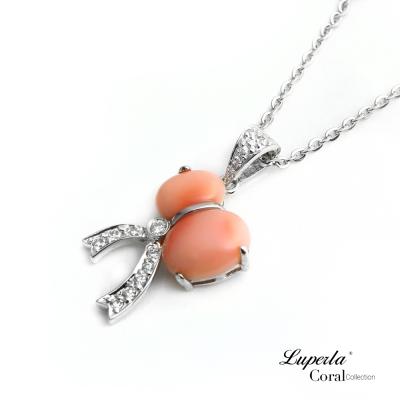 【大東山珠寶】粉紅珊瑚閃耀項鍊墬飾 福祿