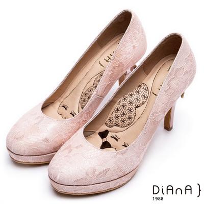 DIANA 超厚切LADY款--波爾多法式蕾絲布晚宴跟鞋-粉
