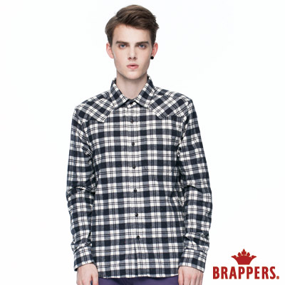 BRAPPERS 男款 尖領領口W型長袖格紋襯衫-黑白