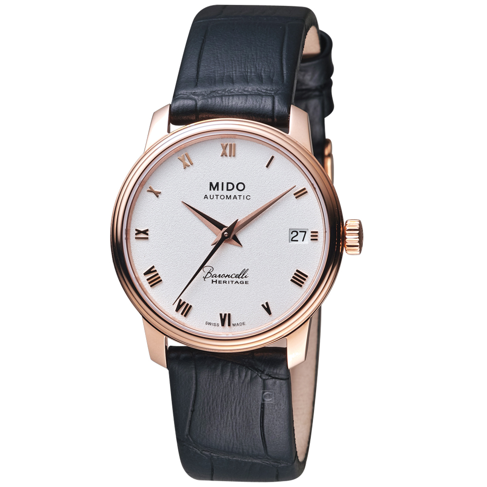 MIDO美度錶Baroncelli Heritage永恆系列復刻腕錶-黑色/33mm