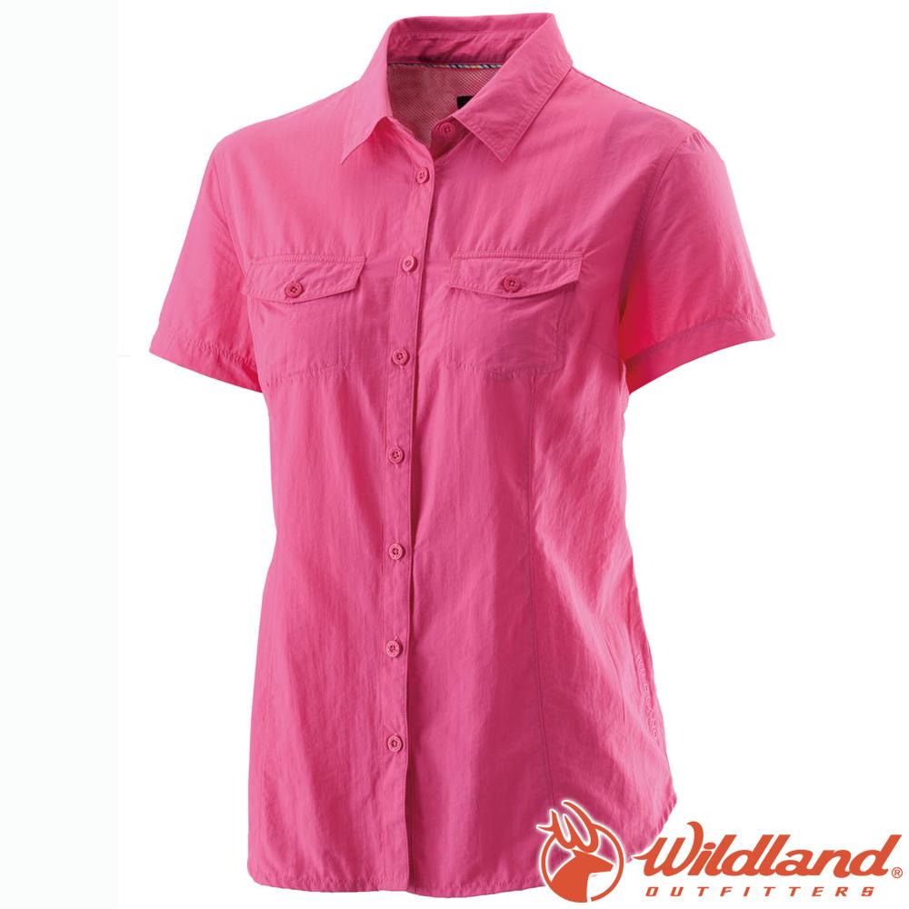 Wildland 荒野 W1203-09桃紅 女 排汗抗UV短袖襯衫