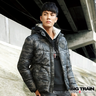 BIG TRAIN 軍事迷彩絲棉外套-男-灰綠迷彩