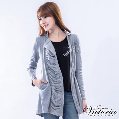 Victoria  波浪垂墜門衿連帽外套-女-灰色