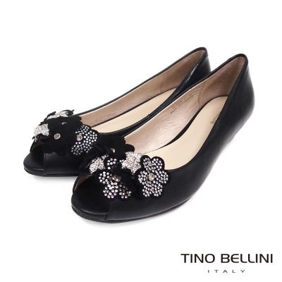 Tino-Bellini-璀璨晶瑩花朵真皮魚口坡跟