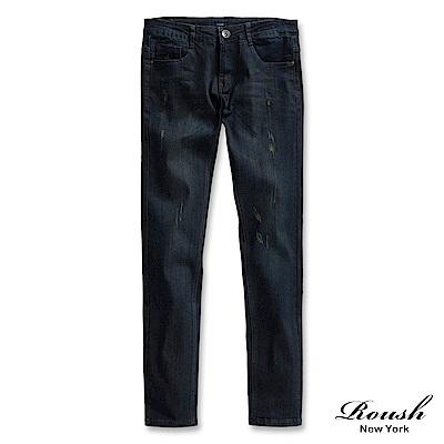 ROUSH 韓版窄管鐵黑色水洗丹寧褲
