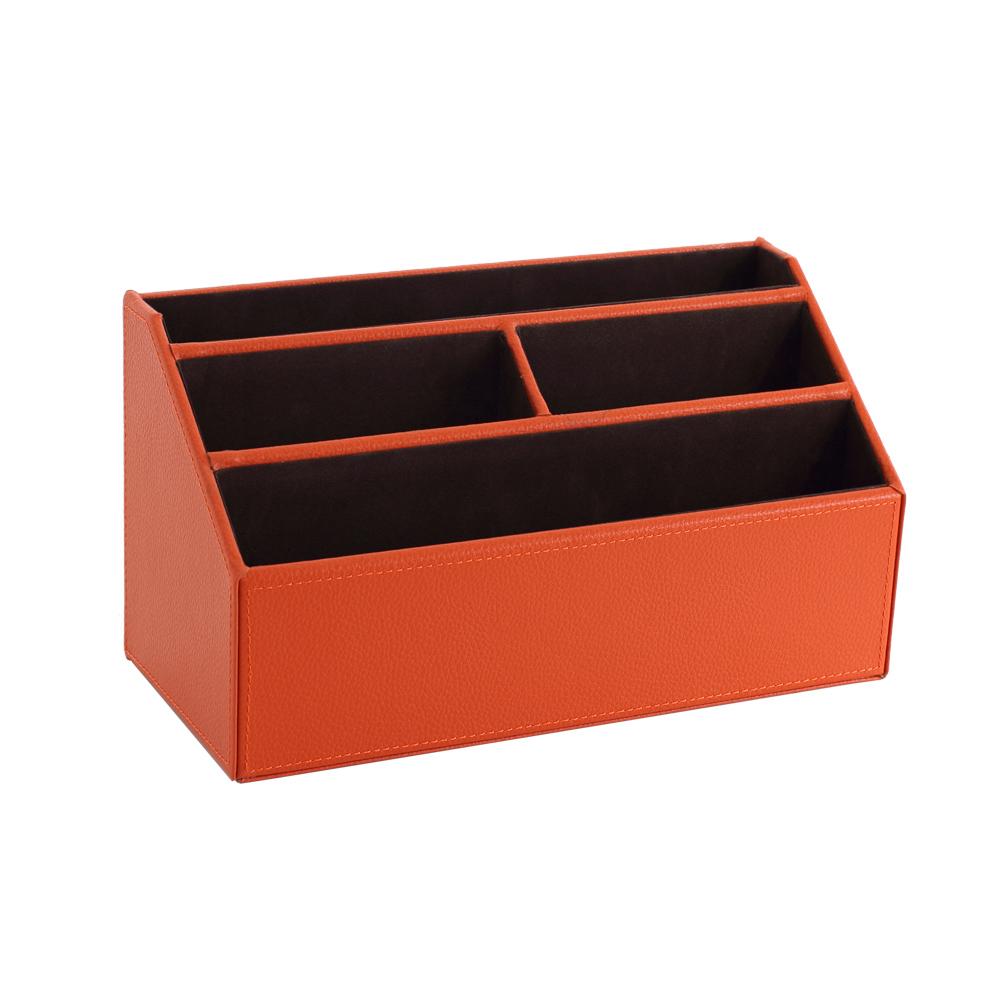 【LOVEL】義大利設計皮革辦公收納-梯形4格置物盒