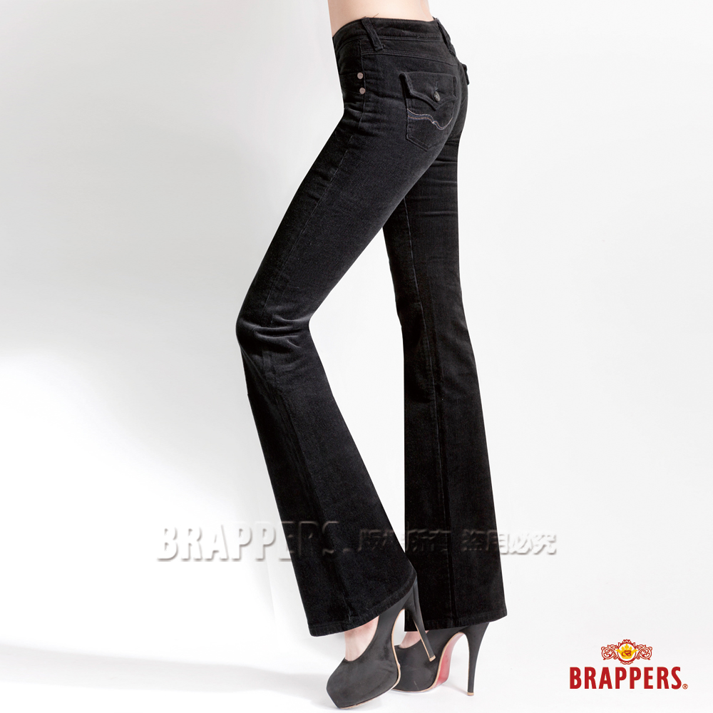 BRAPPERS 女款 新美腳l二代系列-女用彈性條絨小喇叭褲-黑