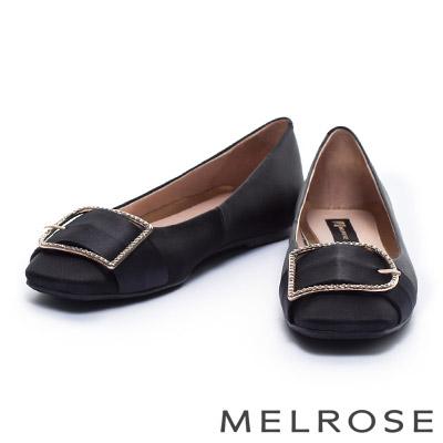 娃娃鞋-MELROSE-時尚鑽釦緞布平底娃娃鞋-黑
