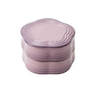 LE CREUSET 瓷器花型收納罐(錦葵紫)