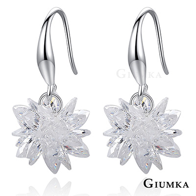 GIUMKA白色世界勾式垂墜耳環 精鍍正白K