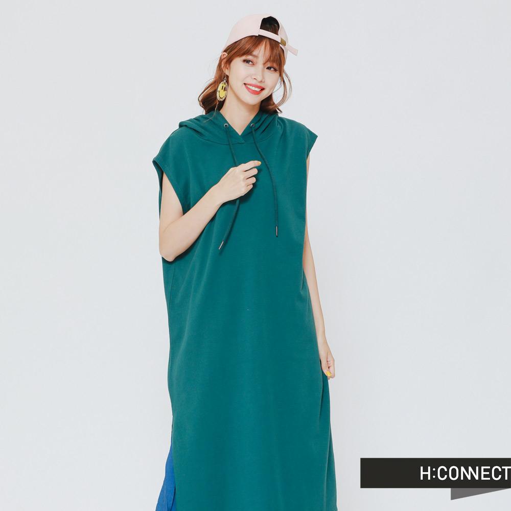 H:CONNECT韓國品牌女裝-俏皮純色連身帽小洋裝-綠