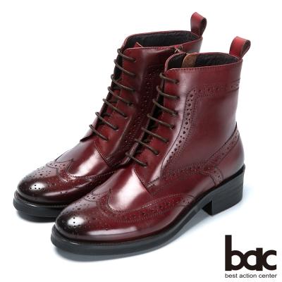 bac英倫學院 率性綁帶真皮短靴-酒紅色