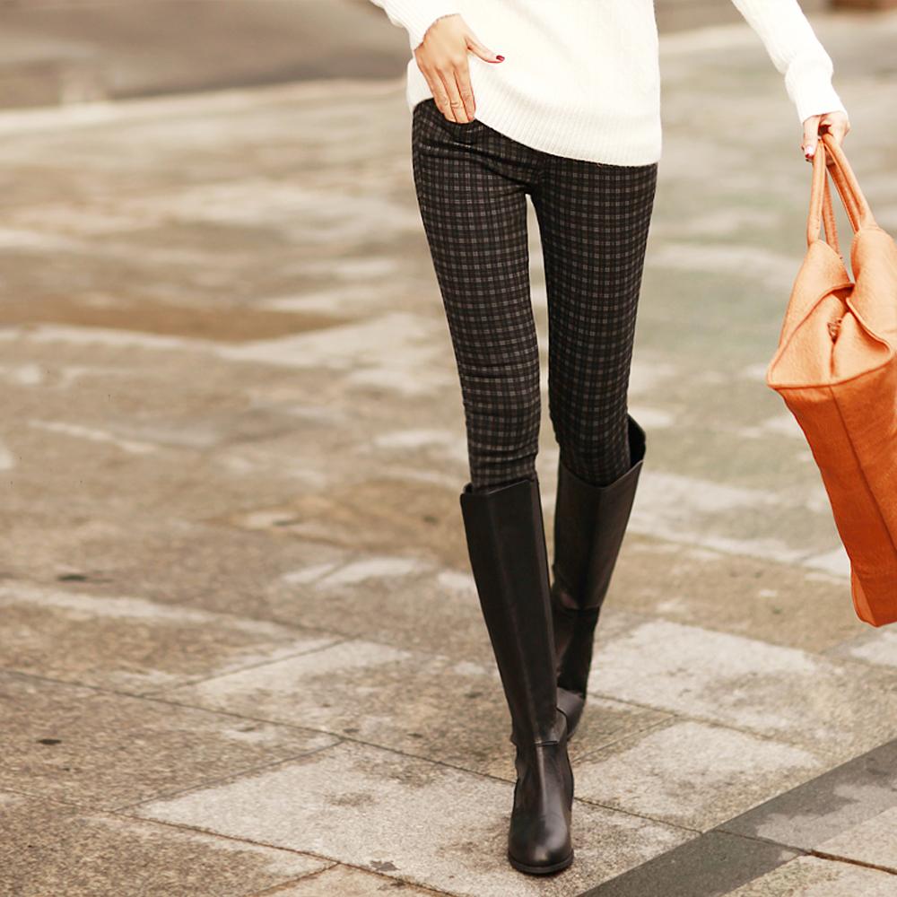 秋冬氛圍格紋修身窄管長褲 (黑色)-N.C21