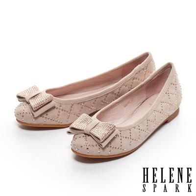 HELENE-SPARK-晶鑽蝴蝶結貼鑽麂皮平底鞋