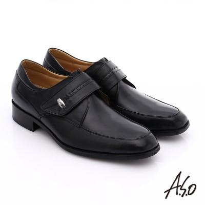 A.S.O 超輕雙核心 牛皮小方楦魔鬼氈奈米紳士鞋 黑色