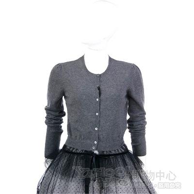 VALENTINO 深灰色拼接蕾絲下襬上衣