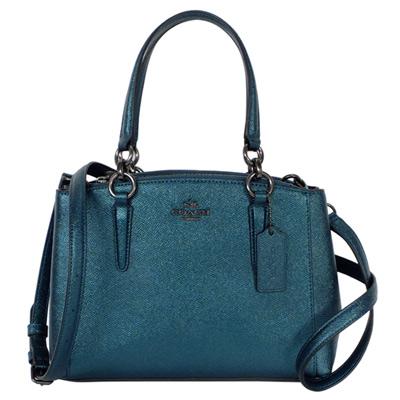 COACH孔雀藍珠光防刮全皮雙拉鍊袋手提/斜背包(小)