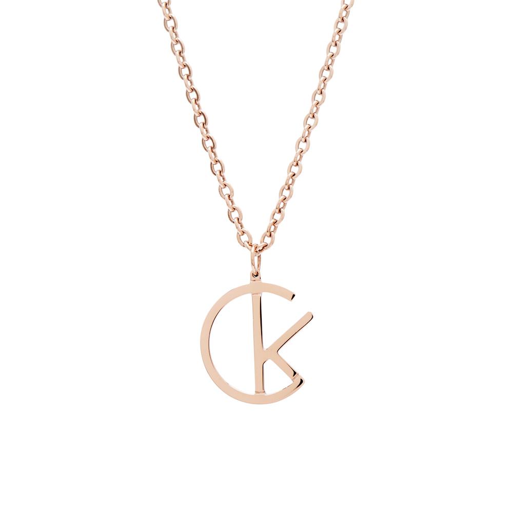 CK Calvin Klein CK LOGO項鍊-玫瑰金色
