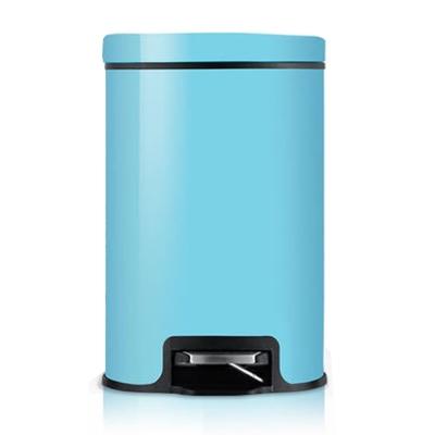 PUSH! 液壓緩降可固定垃圾袋垃圾桶8升(藍色I16-2)
