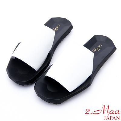 2.Maa - 無印設計牛皮方塊拖鞋 - 白