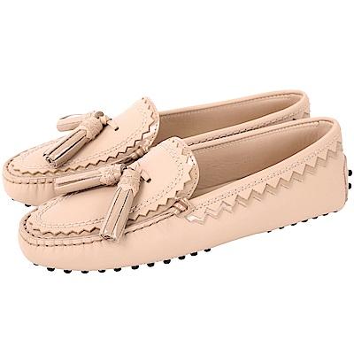 TOD'S 流蘇綴飾拼接鋸齒豆豆鞋(女鞋/粉膚色)