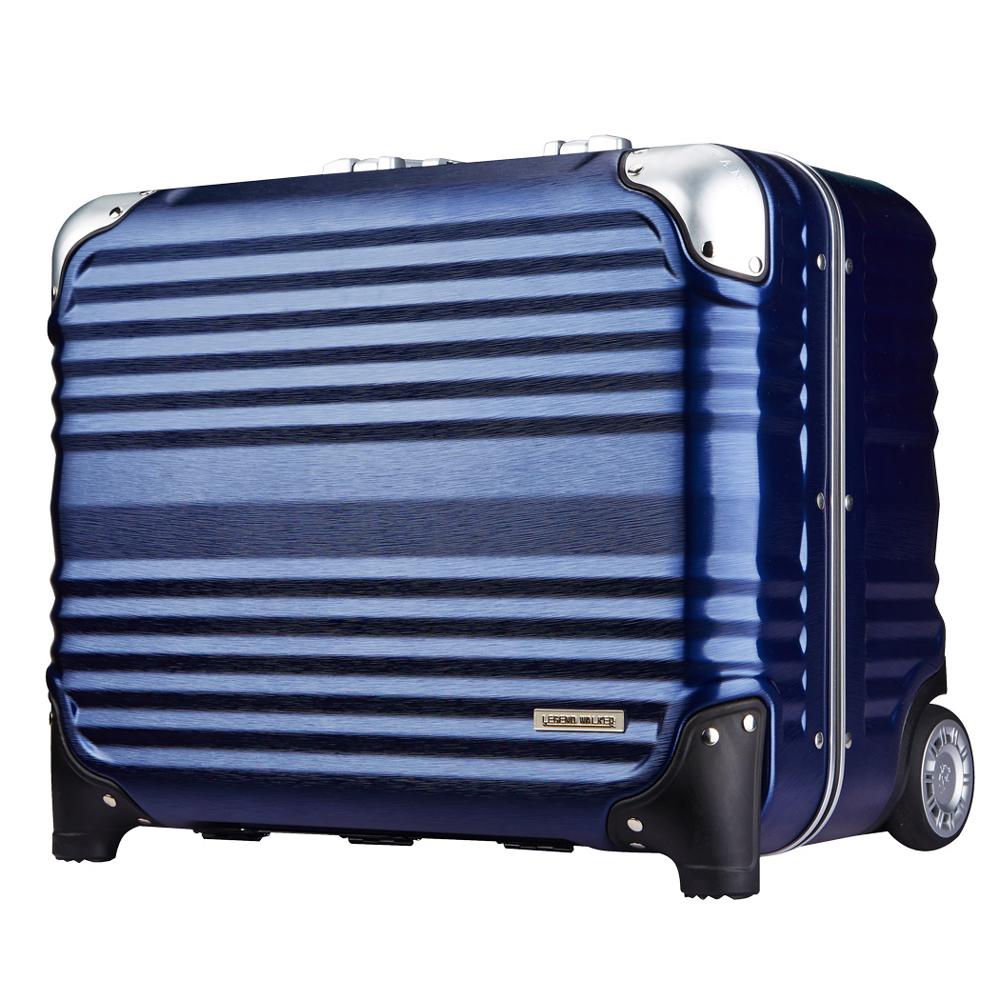 日本LEGEND WALKER 6607-45-16吋 鋁框密碼鎖輕量登機箱 深河藍