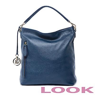 LOOK -真皮兩用hobo包-城市女孩系列-深海藍