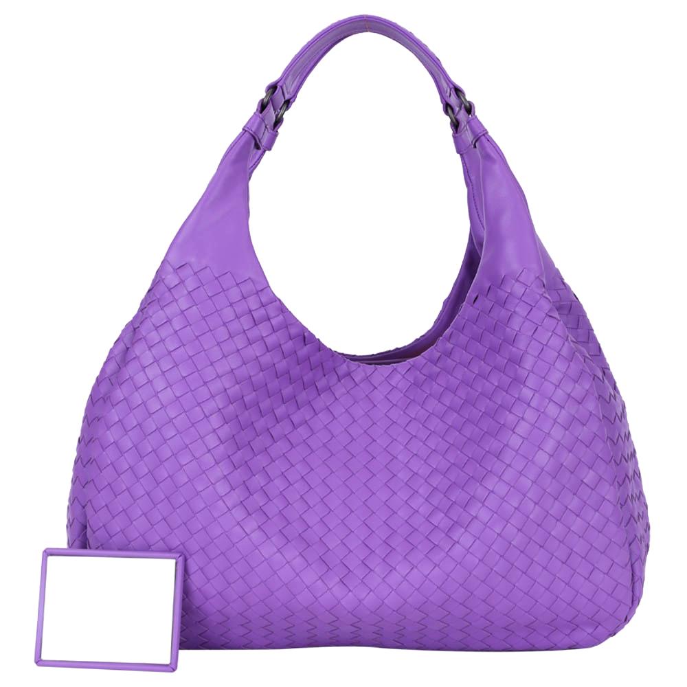 BOTTEGA VENETA Campana 小羊皮雙提把編織提包(大/紫色)