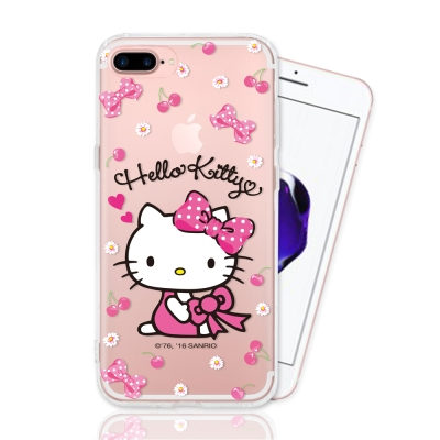 HELLO KITTY iphone 7 Plus 彩繪空壓手機殼-櫻桃