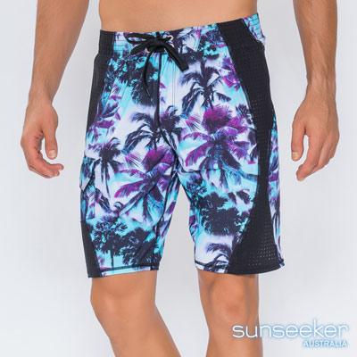 澳洲Sunseeker泳裝時尚男士快乾雙層寬版泳褲衝浪褲-椰林紫