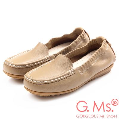 G.Ms. MIT極好穿再進化-軟Q牛皮莫卡辛休閒鞋-可可咖