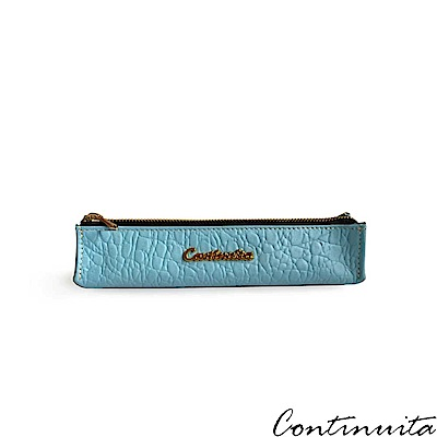 Continuita 康緹尼 頭層牛皮日本鱷魚紋多功能筆袋-藍色