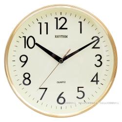 RHYTHM日本麗聲 簡約經典款居家靜音掛鐘(閃耀金)/26cm
