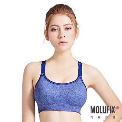 Mollifix 瑪莉菲絲 MoveFree 牛仔緩震挺胸運動BRA(藍)