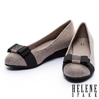 楔型鞋-HELENE-SPARK-晶鑽蝴蝶接斜紋布面楔型鞋-米
