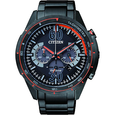 CITIZEN Eco-Drive 競速特區計時腕(CA4125-56E)-IP黑x橘/46mm