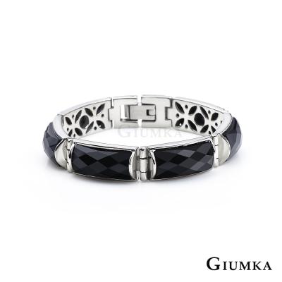GIUMKA 貴氣半寶等級黑瑪瑙 白鋼手鍊-六節