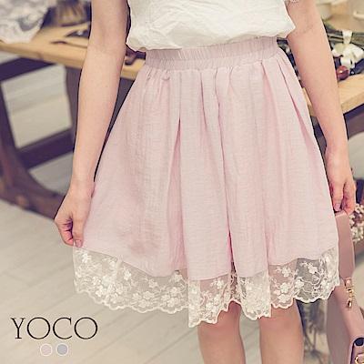 東京著衣-yoco 優雅淑女蕾絲拼接下襬夢幻短裙-S.M.L(共二色)