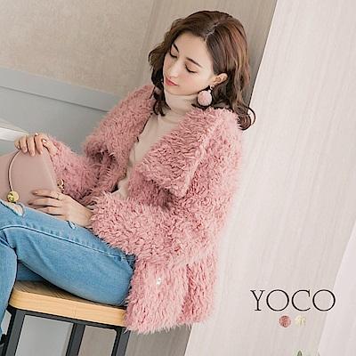 東京著衣-yoco 暖感甜心女孩翻領毛毛外套-S.M.L(共二色)