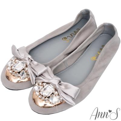 Ann'S華麗寶石緞面蝴蝶結全羊皮舒適平底娃娃鞋-灰